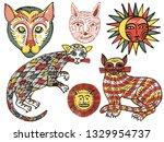 watercolor fantasy animals... | Shutterstock .eps vector #1329954737