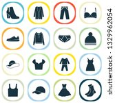 garment icons set with gumshoes ... | Shutterstock .eps vector #1329962054
