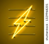 neon sign of lightning... | Shutterstock .eps vector #1329968201