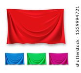 red silk cloth set vector.... | Shutterstock .eps vector #1329994721