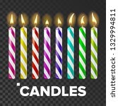 candles set vector. cake. fire... | Shutterstock .eps vector #1329994811