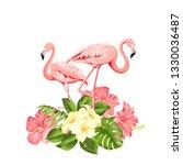 flamingo background design.... | Shutterstock .eps vector #1330036487