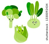 vector cute kawaii vegetables... | Shutterstock .eps vector #1330092434