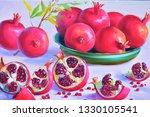 ripe pomegranates still life... | Shutterstock . vector #1330105541