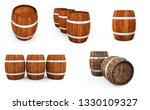 wooden barrel with iron hoops... | Shutterstock . vector #1330109327