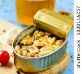 closeup of a can of seasoned...   Shutterstock . vector #1330116257
