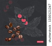 vector coffee ads with beans in ...   Shutterstock .eps vector #1330121267