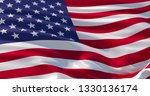 fluttering silk flag of united... | Shutterstock . vector #1330136174