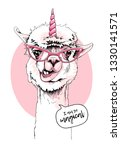 fun llama in a pink glasses and ... | Shutterstock .eps vector #1330141571