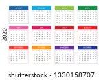 2020 calendar template  12... | Shutterstock .eps vector #1330158707