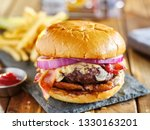 western style bacon burger with ... | Shutterstock . vector #1330163201