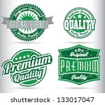 green vintage label collection | Shutterstock .eps vector #133017047