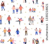 pattern with skating tiny... | Shutterstock .eps vector #1330218821