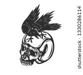 Crow Sitting On Human Skull...