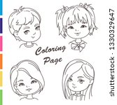 coloring page. young girl... | Shutterstock .eps vector #1330329647