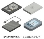 hard disk icons set. isometric... | Shutterstock .eps vector #1330343474