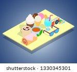 tourist breakfast concept... | Shutterstock .eps vector #1330345301