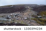 """Aircraft debris at the site of the crash in 1948 of the photo reconnaissance aircraft  """"Over Exposed"""". Location: remote moorland at Bleaklow, near the Snake Pass, Derbyshire, UK."""