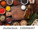 set of various spices and herbs ... | Shutterstock . vector #1330406447