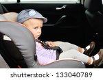 cute toddler girl in car seat   Shutterstock . vector #133040789