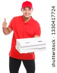 pizza delivery latin boy order... | Shutterstock . vector #1330417724