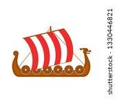cartoon norwegian ship travel... | Shutterstock .eps vector #1330446821
