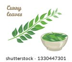 Curry Leaves Isolated On White...