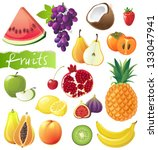 fresh juicy fruits set. eps 10 | Shutterstock .eps vector #133047941