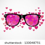 sunglasses and hearts vector... | Shutterstock .eps vector #133048751