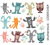 set of cute funny animals   Shutterstock .eps vector #133051469