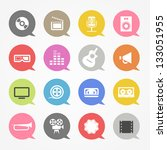 media web icons set in color...