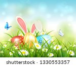 easter theme with bunny ears... | Shutterstock .eps vector #1330553357