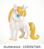 cute cartoon white unicorn with ... | Shutterstock .eps vector #1330567364