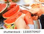 slices of fresh watermelon on... | Shutterstock . vector #1330570907