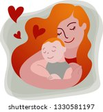 mother with red hair holding... | Shutterstock .eps vector #1330581197