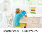 child drawing rainbow. kid... | Shutterstock . vector #1330598897