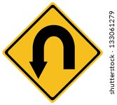 U Turn Roadsign   Yellow Road...