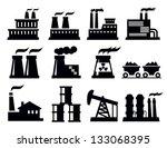vector black building factory... | Shutterstock .eps vector #133068395