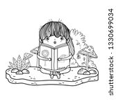 happy little girl reading book... | Shutterstock .eps vector #1330699034