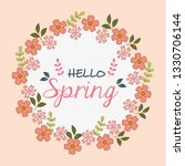 hello spring label with flowers ... | Shutterstock .eps vector #1330706144