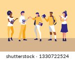 young interracial people... | Shutterstock .eps vector #1330722524