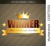 vector golden winner label... | Shutterstock .eps vector #133075331