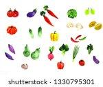 watercolor vegetables.hand... | Shutterstock . vector #1330795301