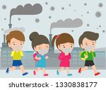 kids in masks because of fine... | Shutterstock .eps vector #1330838177