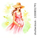 Pregnant Woman  Hand Painted...