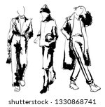stylish fashion models. pretty... | Shutterstock .eps vector #1330868741