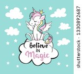 unicorn sitting on a cloud and... | Shutterstock .eps vector #1330892687