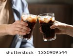 couple with glasses of cold... | Shutterstock . vector #1330909544