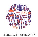 barbecue round badge with text... | Shutterstock .eps vector #1330954187