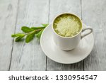 white cup of hot matcha green...   Shutterstock . vector #1330954547